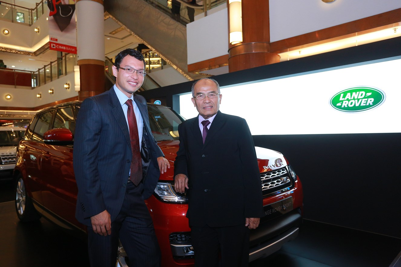 SISMA Auto MD Syed Khalil Syed Ibrahim (L) and Chairman Syed Hussain Syed Mohamed posing with the all-new Range Rover Sport at the company's first dual-brand roadshow at Bangsar Shopping Centre